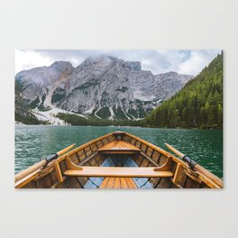 paddling through Lago di Braies Canvas Print
