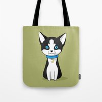 husky Tote Bags featuring Husky by Freeminds