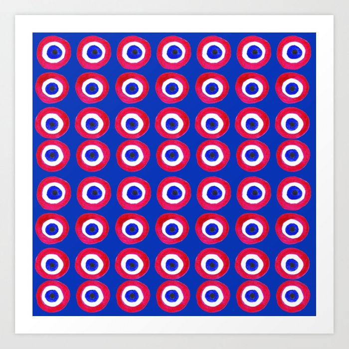 Donut Evil Eye Amulet Talisman - red on blue doughnut Kunstdrucke