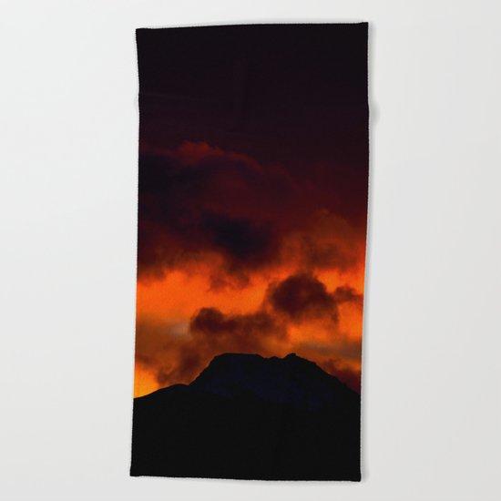 Fire Red Sunrise Beach Towel