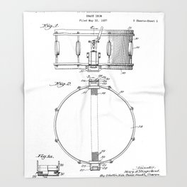 Snare Drum Patent - Drummer Art - Black And White Throw Blanket