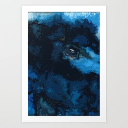 Blue and black bird ink painting Art Print
