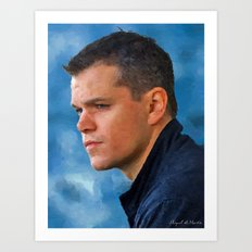 Portrait of Matt Damon Art Print