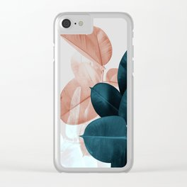 Blush & Blue Leaves Clear iPhone Case
