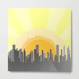 Grey City Morning Metal Print