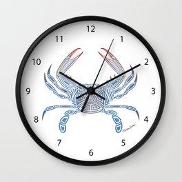 Tribal Blue Crab Wall Clock
