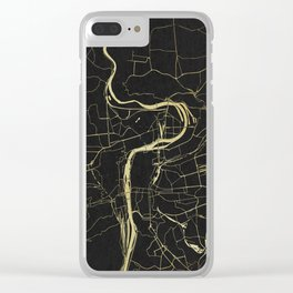 Prague Black and Gold Map Clear iPhone Case