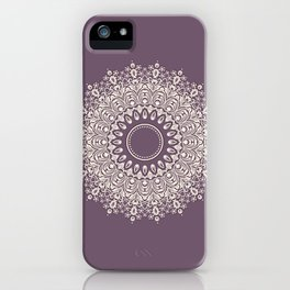 Mandala in Mulberry and White iPhone Case