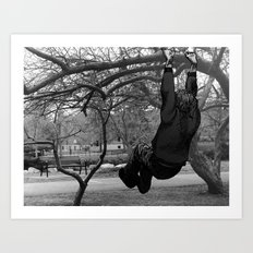 Swinging on Tree Branches Art Print