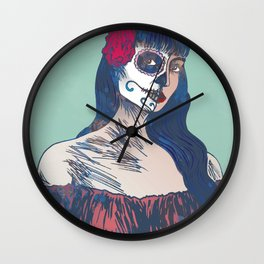 Day of the Dead illustration Wall Clock