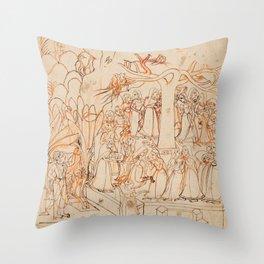 Krishna watches the Gopis dancing around a tree -Vintage Indian Art Print Throw Pillow