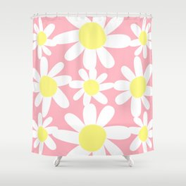 Pink and Yellow Daisy by Christie Olstad Shower Curtain