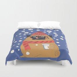 Pug in Snow Duvet Cover