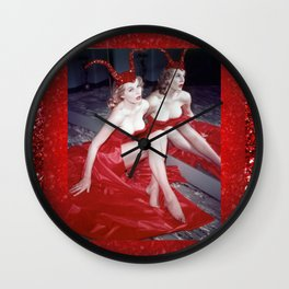Femme Fatale - Anita Red Devil Glitter Wall Clock