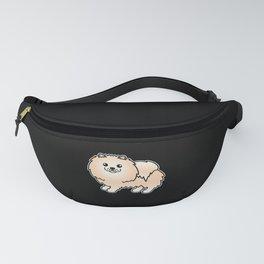 Cream Pomeranian Dog Cute Cartoon Illustration Fanny Pack