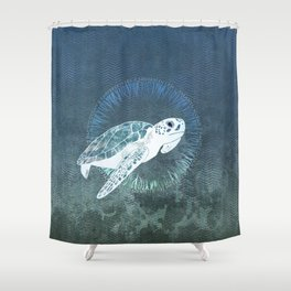 Green Sea Turtle Wreath Shower Curtain