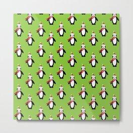 Modern cute red white Christmas penguin pattern Metal Print