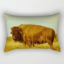 Vintage Bison - Buffalo on the Oklahoma Prairie Rectangular Pillow