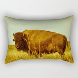 Vintage Bison - Buffalo on the Oklahoma Prairie Rectangular Pillow