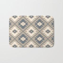 Aztec Symbol Stylized Pattern Blue Cream Sand Bath Mat