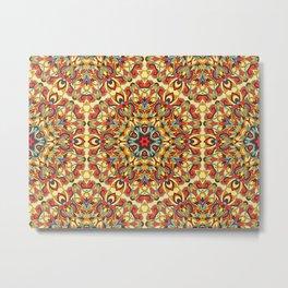 Yellow geometric Mandala Rich ornament Metal Print