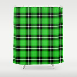 LIME Green (#32cd32) color themed SCOTTISH TARTAN Checkered Fabric Pattern texture background Shower Curtain