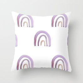 Lilac Lavender Rainbows Throw Pillow