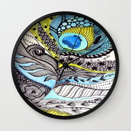Peacock feather illustration wall art Wall Clock