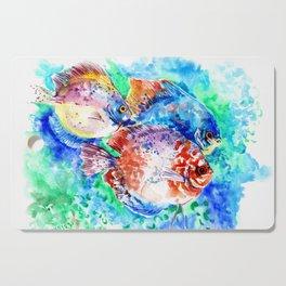 Underwater Scene Artwork, Discus Fish, Turquoise blue pink aquatic design Cutting Board