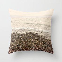 Dungeness Shoreline, Pebble Beach, Washington Seascape, Juan de Fuca, Coastal Photography Throw Pillow