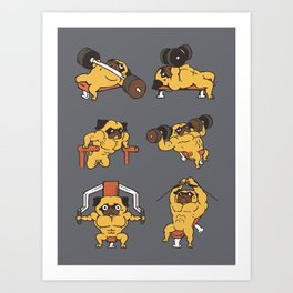 Chest day with Pugsgym Art Print