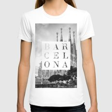 Barcelona White Womens Fitted Tee X-LARGE