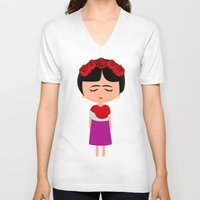 frida kahlo V-neck T-shirts featuring Frida Kahlo by Creo tu mundo
