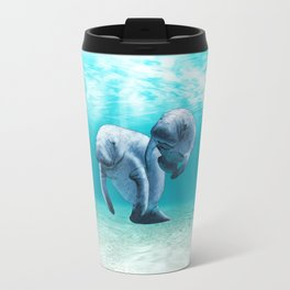 Two Manatees Swimming Travel Mug
