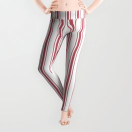 Mattress Ticking Wide Striped Pattern in USA Flag Red and White Leggings