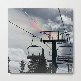 Ski Lift Rainbow Sky \\ The Mountain Sun Rays \\ Spring Skiing Colorado Winter Snow Sports Metal Print