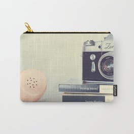Film Camera and Pink Telephone (Retro and Vintage Still Life Photography) Carry-All Pouch