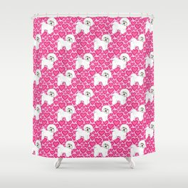 Bichon Frise Valentines Day Hearts in pink and red // Ideal valentines gift for Bichon Mom Shower Curtain