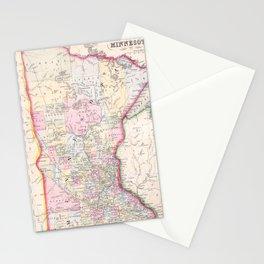 Vintage Map of Minnesota (1864) Stationery Cards