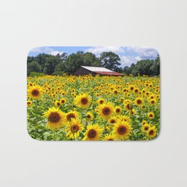 Sunflowers with Barn in Distance Bath Mat