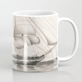 Vintage Illustration of a Frigate Sailboat (1849) Coffee Mug