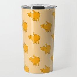Cute Yellow Cats Pattern | Beige Travel Mug