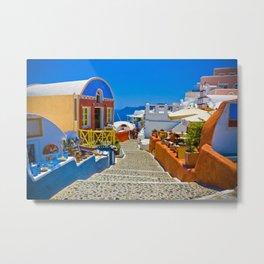 Street in Santorini Metal Print