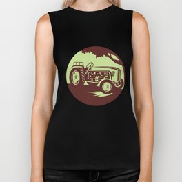 Vintage Farm Tractor Circle Woodcut Biker Tank