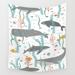 Whales of the Sea Wall Tapestry