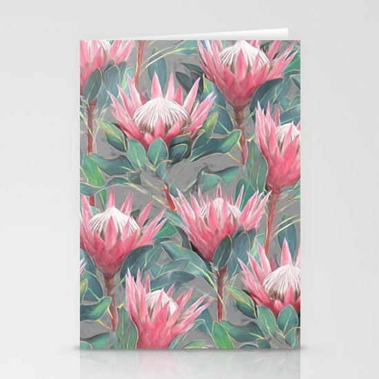 Pink Painted King Proteas on grey Stationery Cards