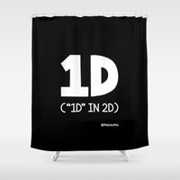 """1d Shower Curtains featuring """"1D"""" IN 2D (White) by Mokokoma Mokhonoana"""