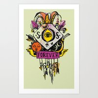 tatoo Art Prints featuring Forever. Tatoo by mayina