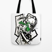 one piece Tote Bags featuring One Piece - Zoro by RISE Arts
