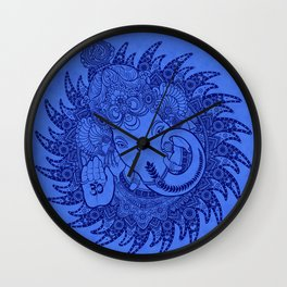 Ganesha Lineart Blue Wall Clock